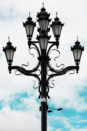 Stylish decorative street lamp with the religious touch in Moscow, Russia Stock Photo
