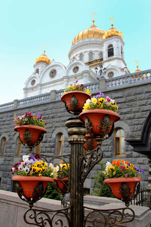 The street flower-pots with beautiful flowers next to the temple of Christ the Savior