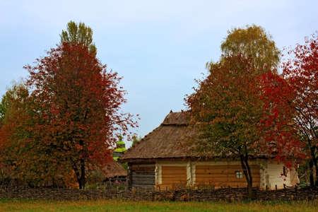 Silent autumn in a traditional ukrainian village