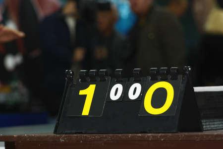 Scoreboard for a table tennis tournament