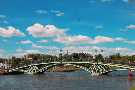 Foorbridge across the pond in Tsaritsino, Moscow, Russia Stock Photo - 12182405