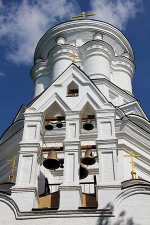 White bellfry with many bells in Moscow, Russia Stock Photo - 12183249