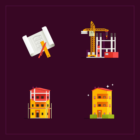 phases: Construction phases of building. Vector icon set.