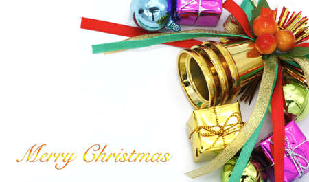 Merry Christmas and Happy New Year Card on white background. Stock Photo
