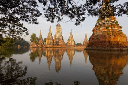 dhamma: Floods Chaiwatthanaram Temple at Ayutthaya, Thailand.