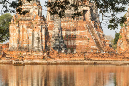 Floods Chaiwatthanaram Temple at Ayutthaya, Thailand. photo