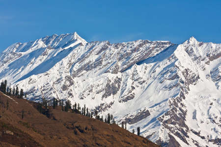 Beautiful peaks of Himalayas in Manali Valley, India. Stock Photo