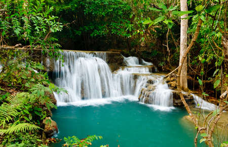 Waterfall in National Park , Kanchanaburi Province , Thailand photo