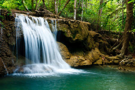 Waterfall in National Park , Kanchanaburi Province , Thailand Stock Photo - 13676031