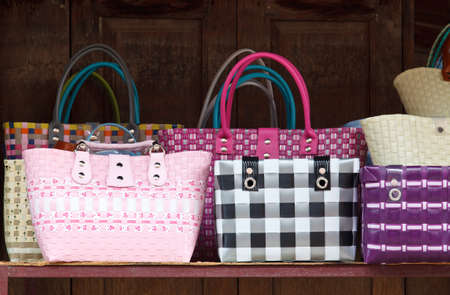 Closeup of colorful plastic woven shopping bags