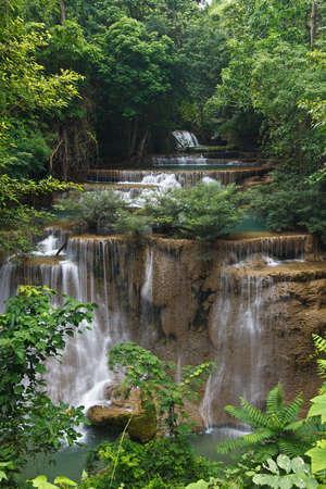 mea: Beautiful Waterfall in Srinakarin Dam National Park , Kanchanaburi Province , Thailand
