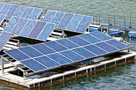 solar equipment: Solar panels  on the water.