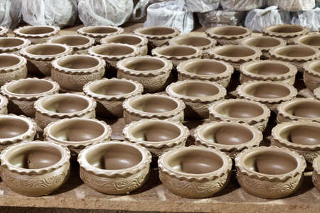large group of clay pots spread Stock Photo - 15437312