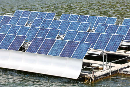 Solar panels  on the water. photo