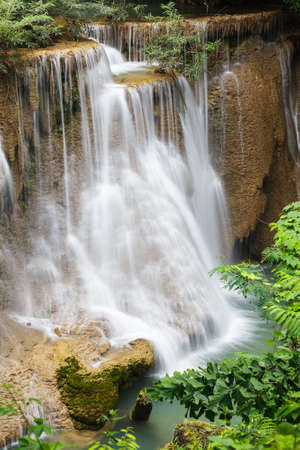 Beautiful Waterfall in Srinakarin Dam National Park , Kanchanaburi Province , Thailand Stock Photo - 17006186