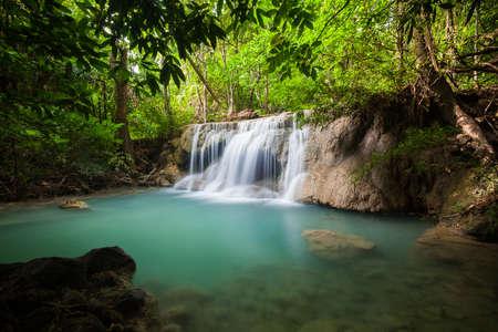 Waterfall in National Park , Kanchanaburi Province , Thailand Stock Photo - 17378903