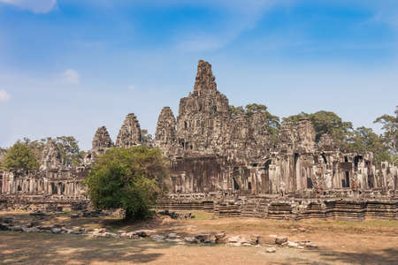 Bayons Angor Wat, ancient architecture in Cambodia photo