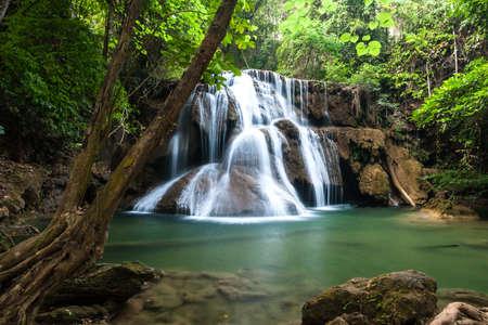 Waterfall in National Park , Kanchanaburi Province , Thailand Stock Photo - 17956295
