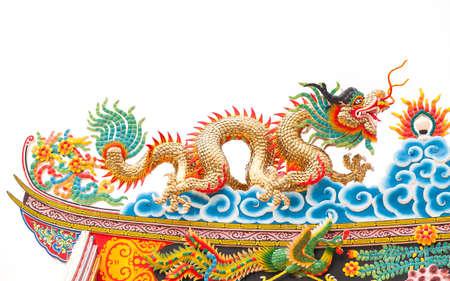 Highly colorful golden dragon in a Chinese temple photo