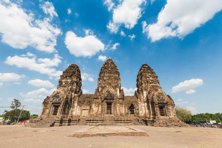 Buddhist temple,Phra Prang Sam Yod Pagoda In Lopburi of Thailand photo
