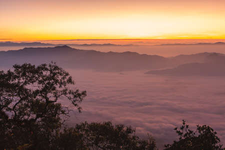 Sunrise view point from Doi Chiang Dao mountain, Chiang mai, Thailand. photo