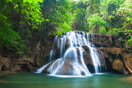 Waterfall in National Park , Kanchanaburi Province , Thailand Stock Photo - 22016269