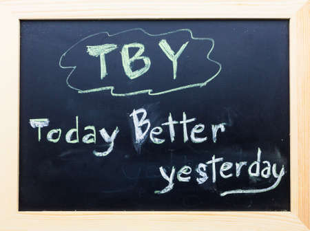 TBY words on Black Board. photo