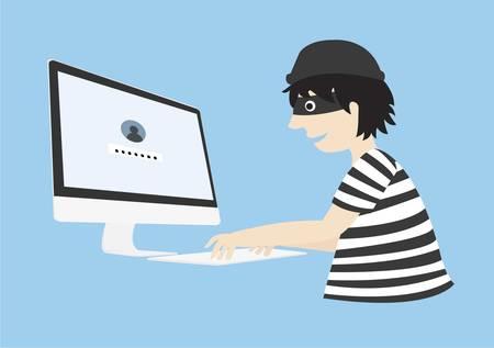 stolen identity: Hacker try to hack password. Login password