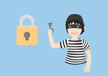 Thief hold key for unlock Illustration