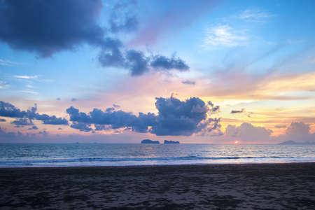 beautiful sky in Sunset  at beach and sea. Фото со стока