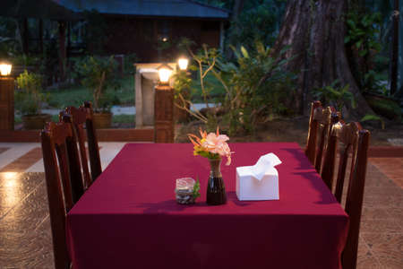 empty dinner table for place food