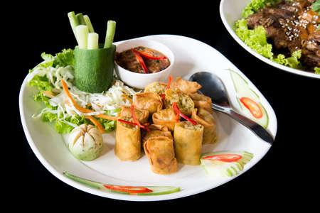 Por Pieer Tod (Thai Spring Roll )  with thai sauce.
