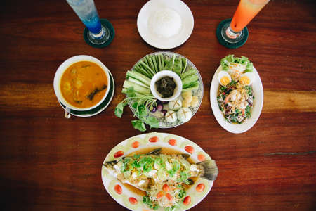 Southern of Thailand Food at Top View.