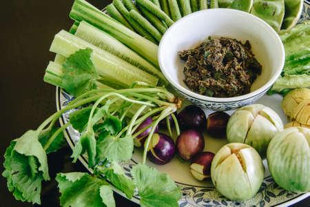 Chili paste (Namprik mangda) with vegatable as side dish.