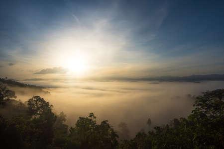 sunrise over fog forest at Thailand.