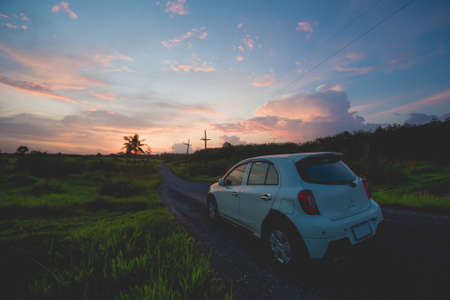 Car and road to travel and relax.
