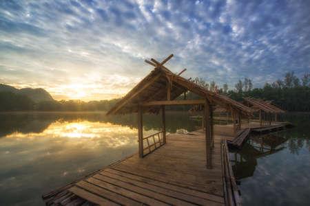 raft on lake at sunrise.