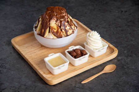 banana chocolate bingsu Фото со стока