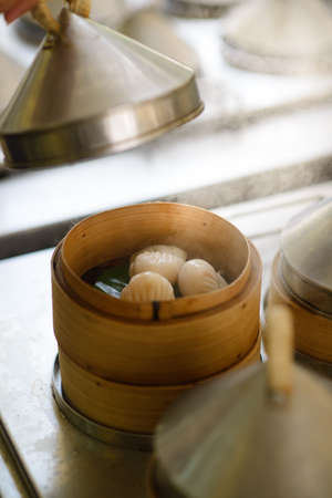 Dimsum food with steam.