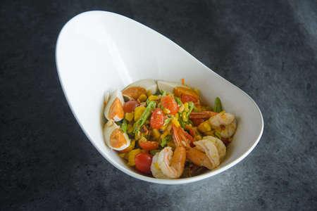 shrimp salad or som tum shrimp ,papaya