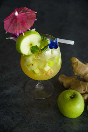 green apple and ginger juice on loft