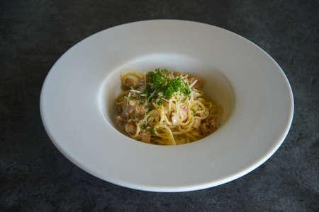 Homemade Carbonara pasta, spaghetti with pance, Traditional italian cuisine. Pasta alla carbonara