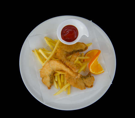 fried fish chip and french fries snack.