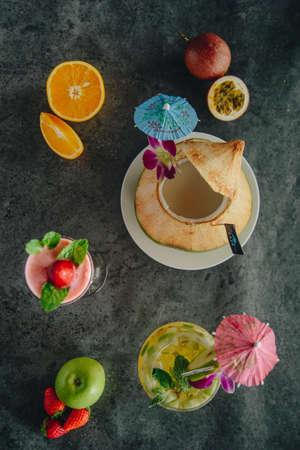 colorful fruit juice strawberry juice and apple juice.