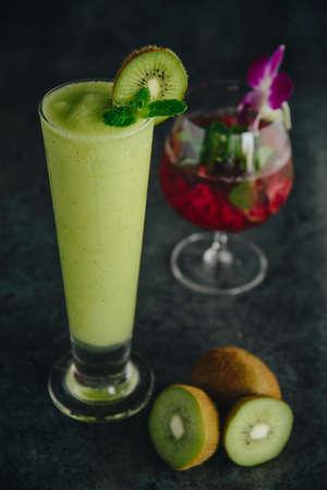 kiwi smoothies with kiwi fruit with red juice