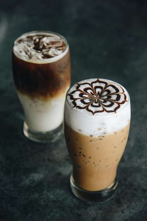 coffee cup and iced capuchino and mocha