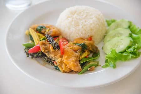 Stir-Fried Spicy Fish Thai spicy herb food