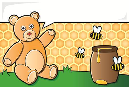 pot miel: ours en peluche avec pot de miel