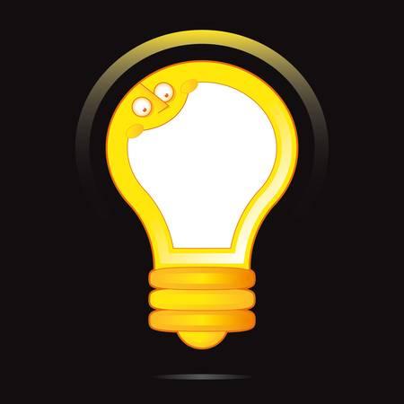 metal light bulb icon: yellow light bulb character