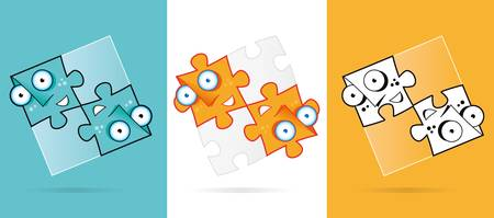 puzzle solution characters Vector
